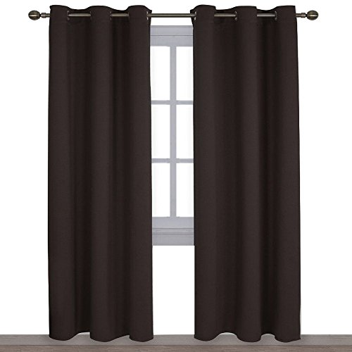 NICETOWN Energy Smart Thermal Insulated Solid Grommet Blackout Curtains/Drapes for Livingroom (2 Panels,42-Inch x 84-Inch,Toffee - Brown Living Room Decor