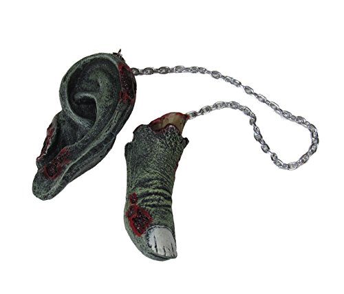 Zombie Parts Mirror Danglers Chains Race Accessory Dead Walking -