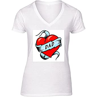 Camiseta Blanca con V-Cuello para Mujer - Tamaño XL - Papá Tatuaje ...