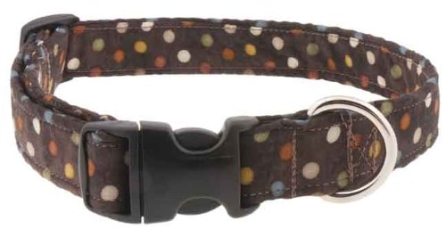 Country Brook Design Deluxe Brown with Polka Dots Designer Dog Collar - Medium