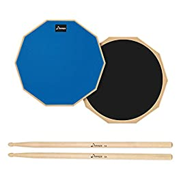 Donner Drum Practice Pad, 12 Inch Double Sided Silent Drum Pad With Drumsticks, Blue