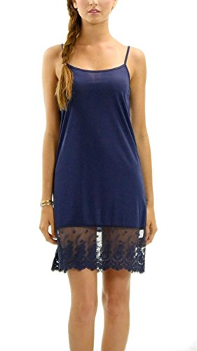Melody Womens Solid Knit Lace Full Slip Dress - Skirt Extender (Large, Navy)