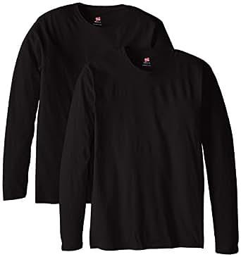 Hanes Men's Long Sleeve Nano Cotton Premium T-Shirt (Pack of 2), Black, Small