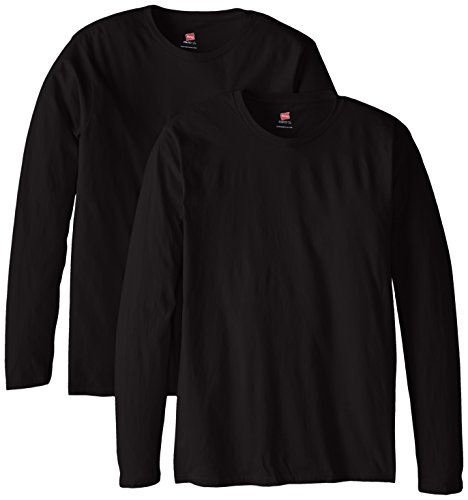 Hanes Men's Long Sleeve Nano Cotton Premium T-Shirt (Pack of 2), Black, 3X-Large ()