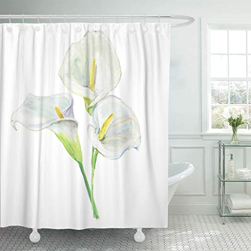 Emvency Fabric Shower Curtain with Hooks Green Flower Bouquet Calla Lily Holiday Watercolor Pink White Abstract Beautiful Beauty 72