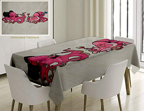 Unique Custom Cotton And Linen Blend Tablecloth Octopus Decor Cartoon Art Illustration Of Octopuses In Fun Retro Costumes At Party Vintage Style DecorTablecovers For Rectangle Tables, 86 x 55 Inches