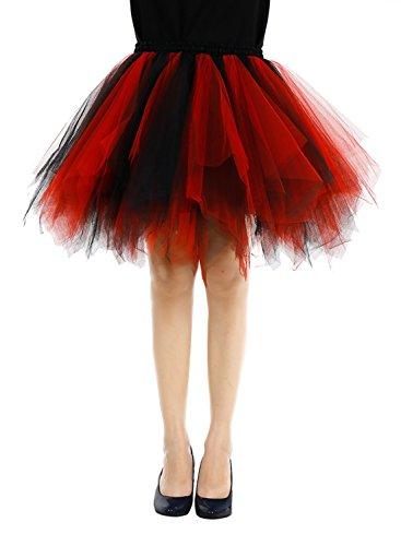 [Bbonlinedress Women's Mini Vintage Patticoat Tutu Three-Layer Multicolor Bubble Skirt Black-red L] (Red And Black Corset Dress)