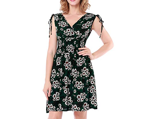 Sleeveless Pleated Drawstring V-Neck Floral Dresses Elastic High Waist Retro Contrast Vestidos,03,XL