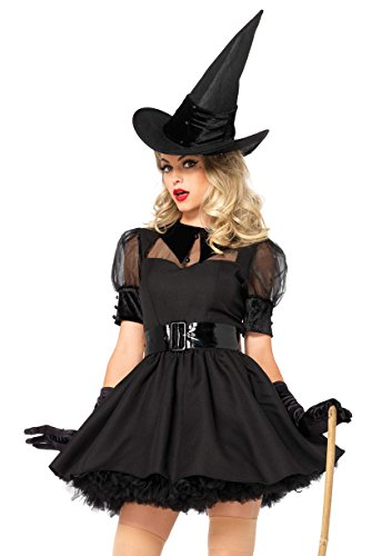 Leg Avenue Women's Plus Size Classic Bewitching Witch Costume, Black, 1X / 2X -