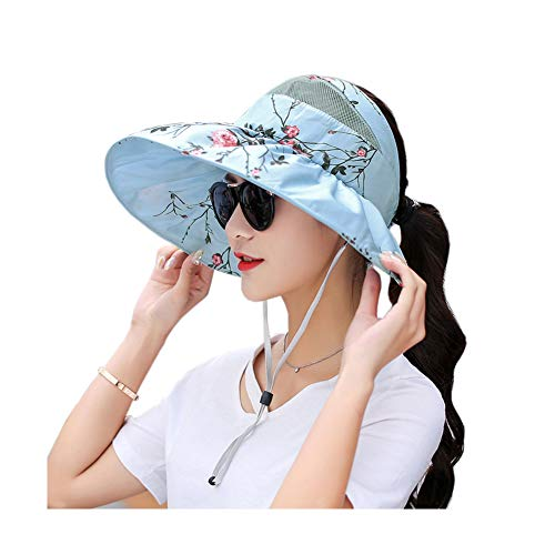 Women's Outdoor Wide Brim Foldable Sun Hats UV Protection Adjustable Summer Visor (Print Sky Blue)
