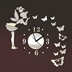 ColorfulHall - Angel Beauty Butterfly and Figure Wall Clock Removable DIY Acrylic 3D Mirror Wall Decal Wall Sticker Home Decoration (Silver)