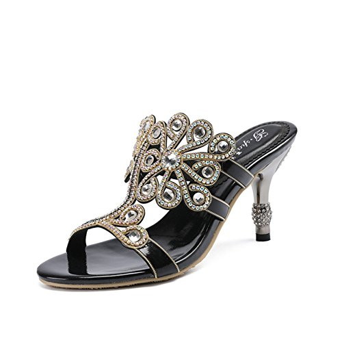 Heel PU Black Silver Red Women's Outdoor for Stiletto Sandals Purple B Exing Shoes Summer Comfort Gold 0Awx7qB7