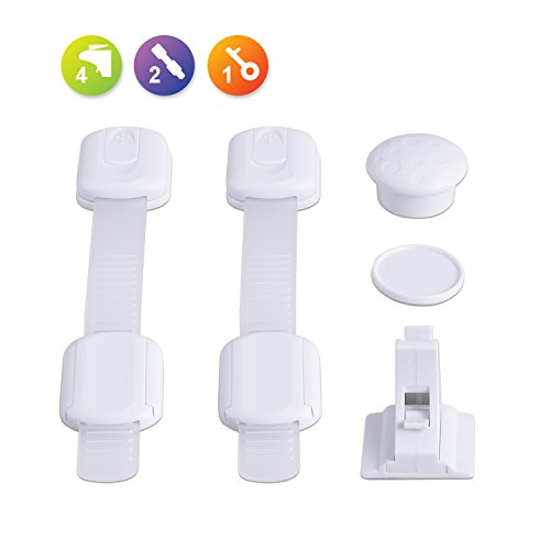 Open House Lock Kit - Bable Child Safety locks, Magnetic Cabinet Locks Kit, 2 Adjustable Strap Latches for Latches