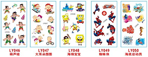 (5 Sheets Cartoon Kids Temporary Tattoos Body Sticker - for Boys Girls Teens - Waterproof Colorful Tattoos   Spongebob Squarepants   Spiderman   Nemo   Removable, NONTOXIC)