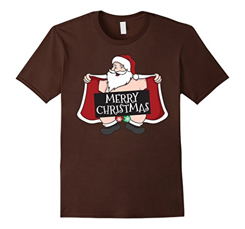 Mens Naughty Santa T-Shirt - Funny Santa Claus Christmas Shirt Small Brown - Talk Dirty Costume