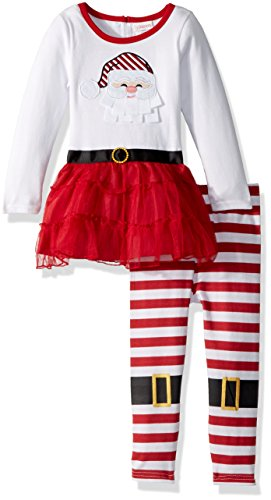 Youngland Little Girls' 2 Piece Santa Suit Dress and Legging Set, Red/White, ()