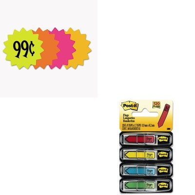 KITCOS090249MMM684SH - Value Kit - Cosco Die Cut Paper Signs (COS090249) and Post-it Arrow Message 1/2amp;quot; Flags (MMM684SH)