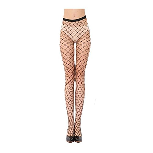 ILUCI Sexy Women Lingerie Fishing Nets Lace Top Garter Belt Thigh Stocking Pantyhose (Black)