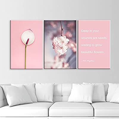 3 Panel Pink Flowers and Inspirational Quotes x 3 Panels 24