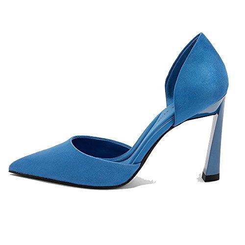taille printemps talons School hauts pointues chaussures UK3 Noir Bleu Couleur Talons EU35 CN34 boîtes célibataires High LHA hauts femmes nuit Heels de femmes 6qUEx