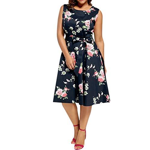 NEARTIME Plus Size Dress for Women, New Print Sleevesless Waist Belt Skirts Knee-Length A-line Elegant Vintage Dress ()