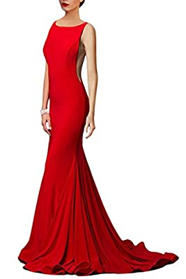 Women's Sexy Mermaid V Neck Deep Back Long Evening Prom Dresses