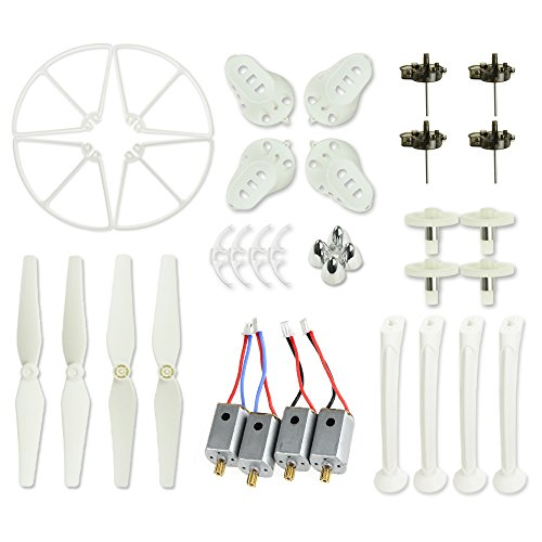 Blades Main Pack Rotor (Coolplay White Main Blades & Landing Skids & Propeller Protectors Blades Frames & Main Gears & Main Motors Spare Replacement Parts for Syma X8 X8C X8W RC Quadcopter)