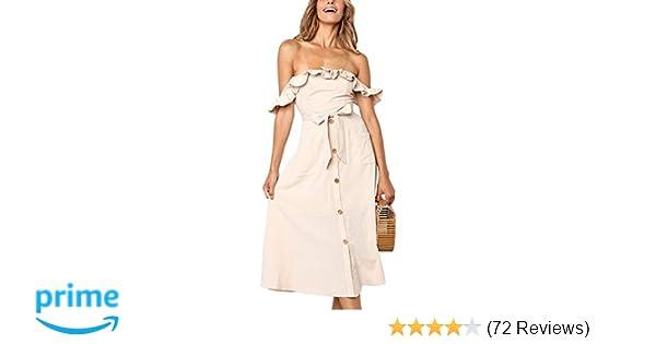 19b3d81fbd6dc Exlura Women's Ruffle Off Shoulder Tie Waist Midi Sundress Button Down Maxi  Dress with Pocket