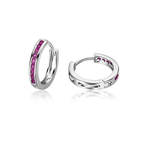 Carleen 925 Sterling Silver Channel Set Round Cut 9-stone Red Cubic Zirconia CZ Hinged Hoop Earrings for Women Girls Diameter 1.8cm