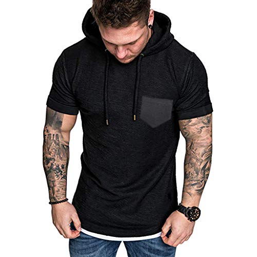 Hooded Tops for Men,LuluZanm Sale Slim Fit Muscle Short Sleeve Large Size Blouse Casual Pattern Solid Color Shirts Black