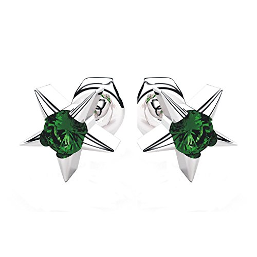 (Sterling Silver Star Stud Earrings with 3mm Created Emerald Gemstone in Center for Women)