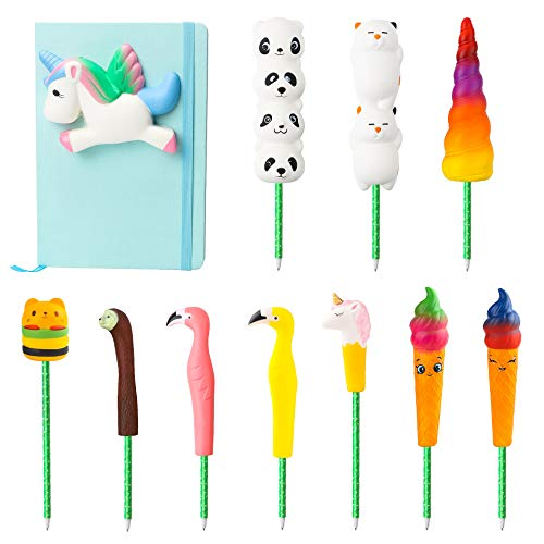 BeYumi Unicorn Diary Notebook and Gel Pen Set, Cream Scented Slow Rising Journal Diary & 10 PCS Animal Food Pen with Kawaii Pen Cap for Party Favor/School Supplies