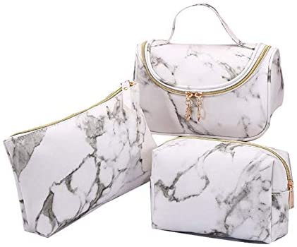3 Pack Marble Makeup Bag Travel Toiletry Bag Portable Cosmetic Pouch Organizer with Small Brush Holders Gold Zipper Waterproof Storage Case for Women and Girls,White (White)