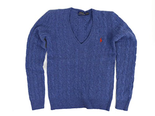 Polo Ralph Lauren Womens Merino Wool Cashmere Cable Sweater (S, Electra Blue) (Ralph Lauren Cable Sweater)