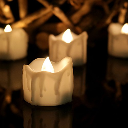 Youngerbaby 24pcs Warm White Flickering LED Tea Light Can...