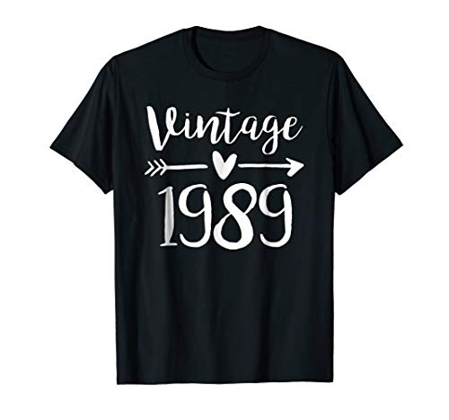 Vintage 1989 Cute Birthday Women Gift 30th Birthday Shirt