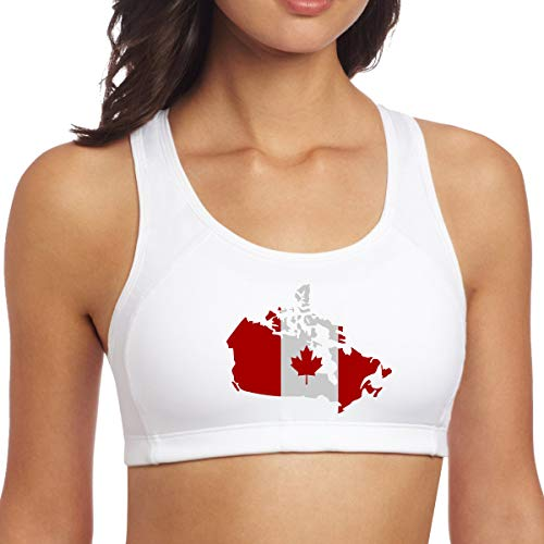 JMFASHION Canadian Map with Canada Flag Women's Racerback Sports Bras for Yoga Running Gym Workout Fitness White