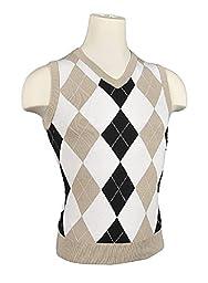 Women\'s Argyle Golf Sweater Vest - Khaki/White/Black/White Overstitch (Medium)
