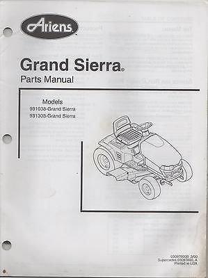 2000 Ariens Grand Sierra P/N 03097600B Parts Manual ()