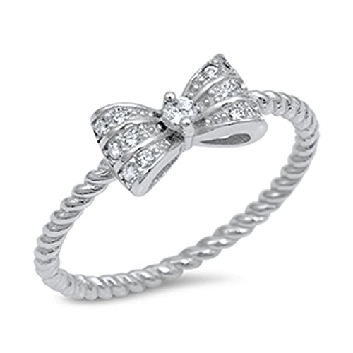 Ribbon Bow Clear CZ Bowtie Ring New .925 Sterling Silver Bali Band Size 7