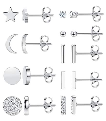 FIBO STEEL 9 Pairs Stainless Steel Star Moon Stud Earrings for Women Girls Cute Bar CZ Stud Earring Set (A1: Silver tone)