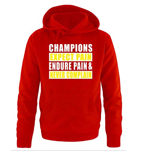 Comedy Shirts - CHAMPIONS EXPECT PAIN - men Hoodie - red / white-yellow size XXL
