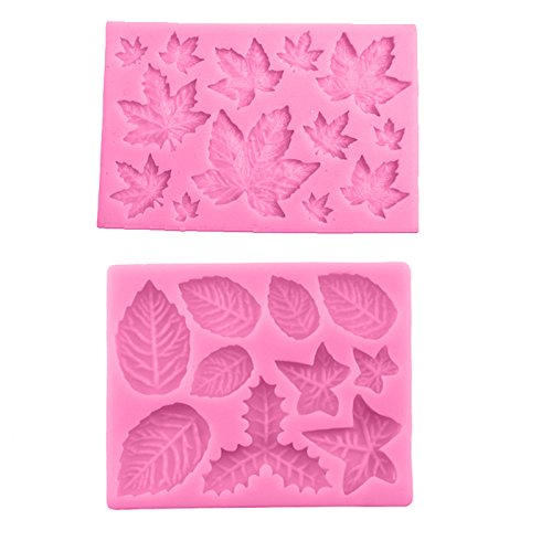 Joinor 2pcs DIY Maple Leaf Silicone Cupcake Baking Molds Fondant Cake Decorating Tools Gumpaste Chocolate Candy Clay ()