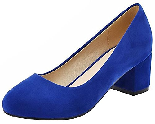 Mofri Women's Classic Faux Suede Low Cut OL Work Shoes Round Toe Block Medium Heel Slip On Pumps (Royal Blue, 8.5 B(M) (Blue Suede Shoes Bar)