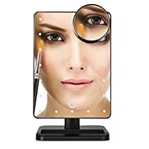 "Hommii LED Lighted Makeup Mirror with 20X Magnifying Spot Mirror, 20 Bright LEDs, 12"" Large Screen, Touch Dimmable, Tabletop Vanity Cosmetic Mirrors"