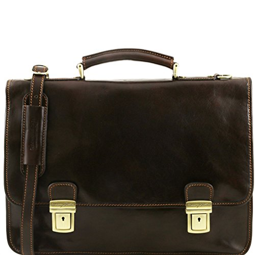 2 Tuscany Firenze Leather Leather Brown Dark briefcase Brown compartments Dark wqvqIO