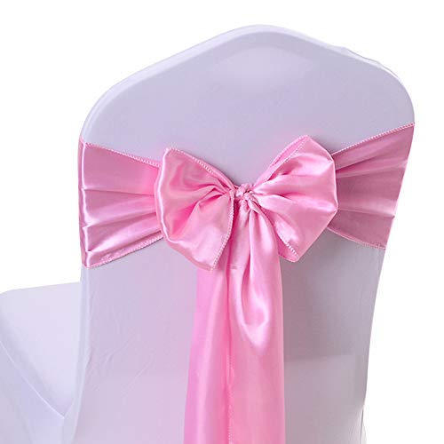 (10PCS 17X275CM Satin Chair Bow Sash Wedding Reception Banquet Decoration #11 Light Pink )