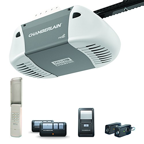 Garage Door Opener System (Chamberlain C410 Durable Chain Drive Garage Door Opener with Med Lifting Power, Pewter)