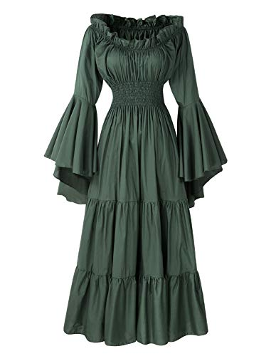 ReminisceBoutique Renaissance Medieval Dress Costume Mythic Mystic Forest Sword Mistress Chemise (Regular, Green)