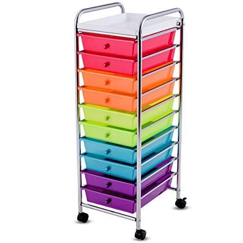 Giantex 10-Drawer Organizer Cart, Pearlescent Multi-Color Mobile Utility Trolley Cart Home Office School Scrapbook Paper Organizer Shelf w/Removable Top Tray, Multicolor
